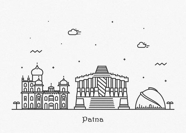 Wall Art - Drawing - Patna Cityscape Travel Poster by Inspirowl Design