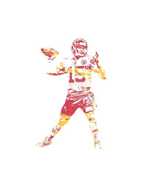 Super Bowl Mixed Media - Patrick Mahomes Kansas City Chiefs Apparel T Shirt Pixel Art 1 by Joe Hamilton