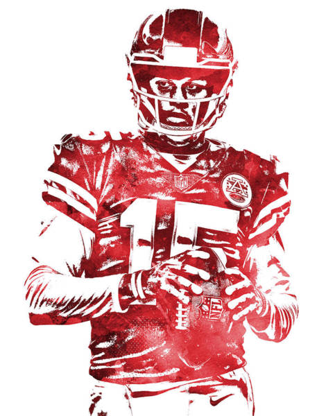 Wall Art - Mixed Media - Patrick Mahomes Kansas City Chiefs Water Color Pixel Art 10 by Joe Hamilton