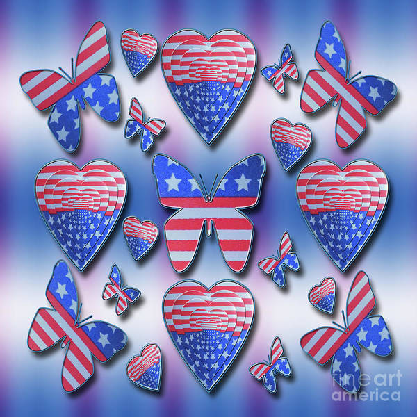 Photograph - Patriotic Butterflies Hearts by Rockin Docks