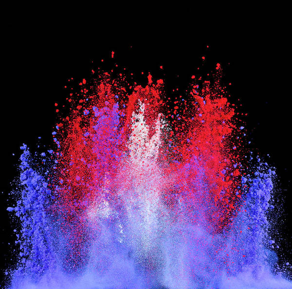Celebration Photograph - Patriotic Explosion Of Colored Powder by Don Farrall