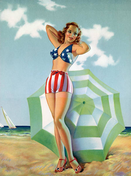 Patriotic Pinup Girl At Beach Art Print