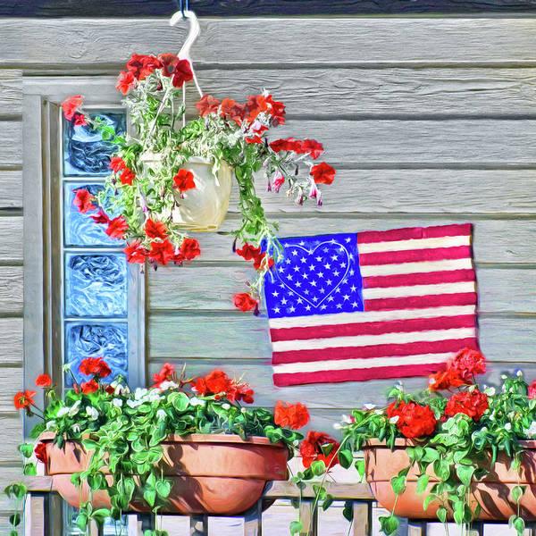 Basket Stars Photograph - Patriotic Porch by Nikolyn McDonald