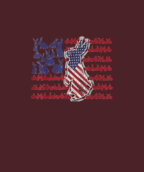 Wall Art - Digital Art - Patriotic Rabbit T-shirt 4th Of July Usa American Flag Shirt by Unique Tees