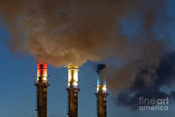 Photograph - Patriotic Smokestacks by Jim West