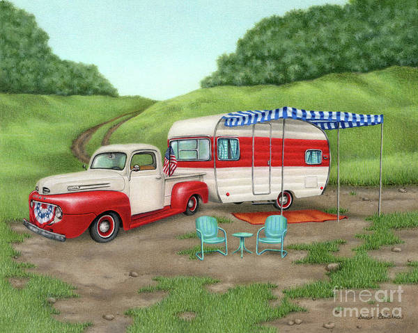 Wall Art - Painting - Patriotic Vintage Camper And Truck by Sarah Batalka