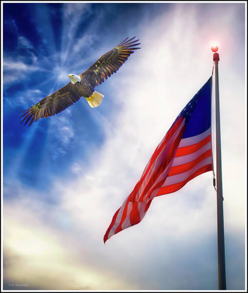 Photograph - Patriotic Vision, Old Glory And Bald Eagle by A Gurmankin