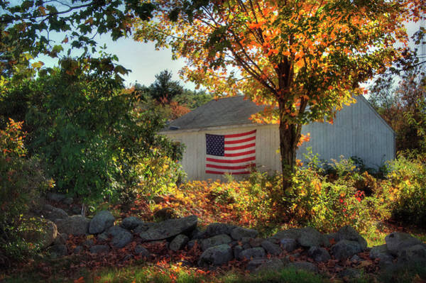 Photograph - Patriotic White Barn In Autumn by Joann Vitali