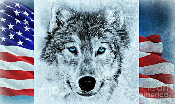 German Shepherd Drawing - Patriotic Wolf by Andrew Read