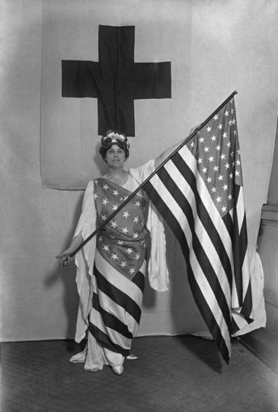 Wall Art - Photograph - Patriotic Woman Wrapped In Us Flag - Ww1 by War Is Hell Store