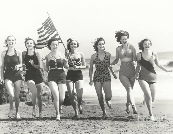 Caucasian Wall Art - Photograph - Patriotic Women At The Beach by Everett Collection