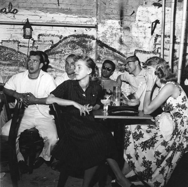 Poet Photograph - Patrons At The Cafe Bizarre by Fred W. McDarrah