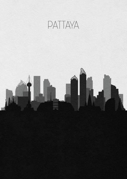 Digital Art - Pattaya Cityscape Art by Inspirowl Design