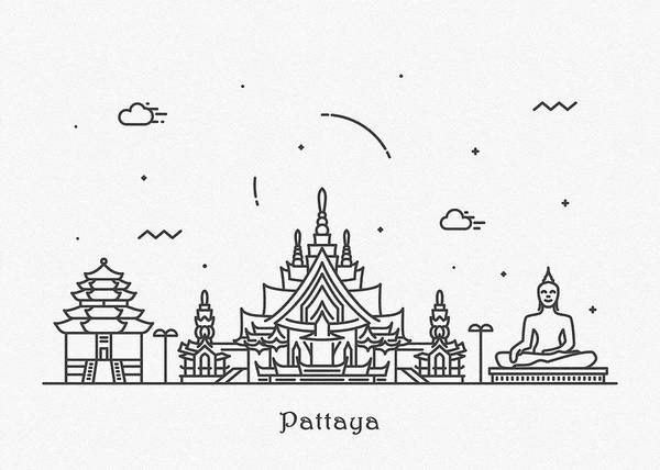 Wall Art - Drawing - Pattaya Cityscape Travel Poster by Inspirowl Design