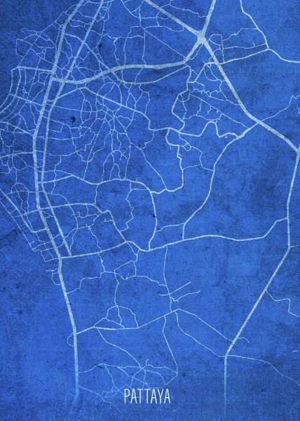 Wall Art - Mixed Media - Pattaya Thailand City Street Map Blueprints by Design Turnpike