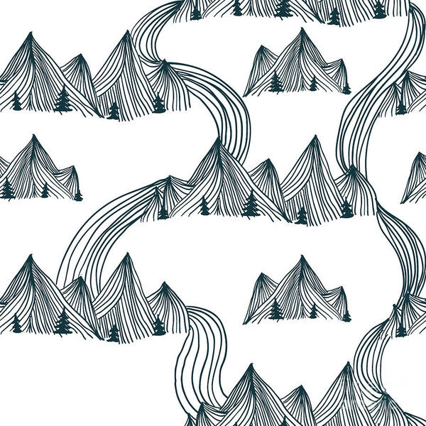 Wall Art - Digital Art - Pattern Graphic Mountain Landscape by Illustration One Love