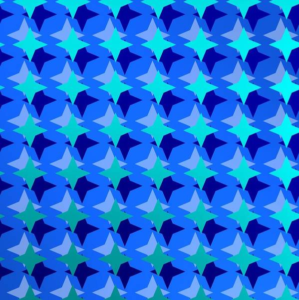 Digital Art - Pattern With Blue Stars by Alberto RuiZ
