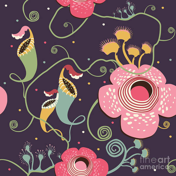 Wall Art - Digital Art - Pattern With Carnivorous Plants by Glebova Galina