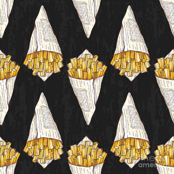 Wall Art - Digital Art - Pattern With French Fries On Dark by Ffffffly