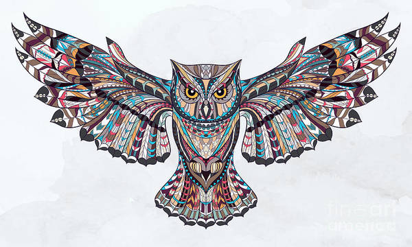 Wise Wall Art - Digital Art - Patterned Owl On The Grunge Background by Ksyu Deniska