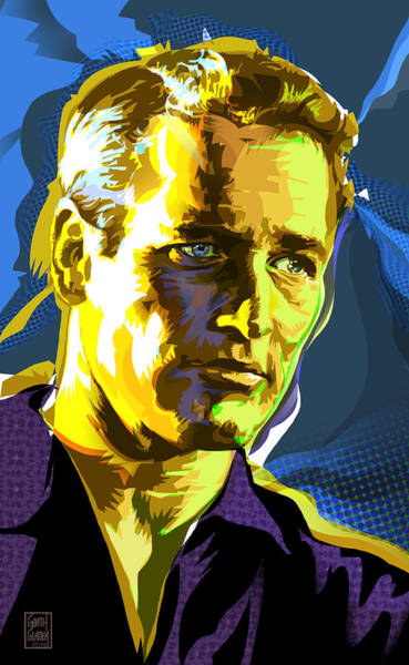 Wall Art - Digital Art - Paual Newman Pop Art Portrait by Garth Glazier