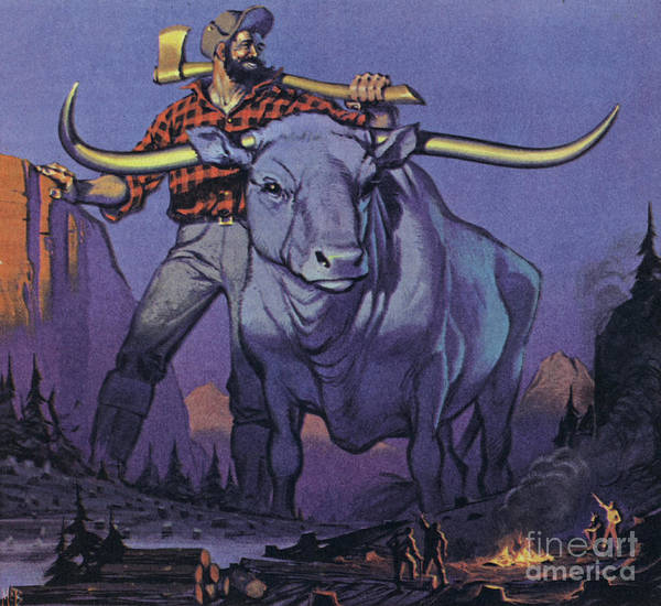 Wall Art - Painting - Paul Bunyan And Babe  by Angus McBride