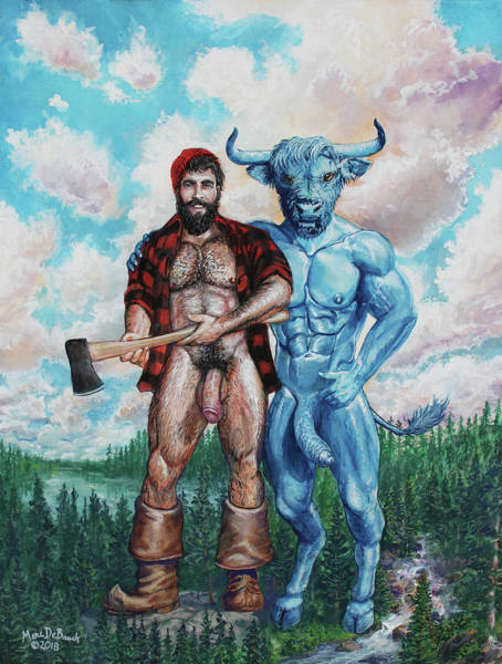 Painting - Paul Bunyan And Babe The Blue Ox by Marc DeBauch