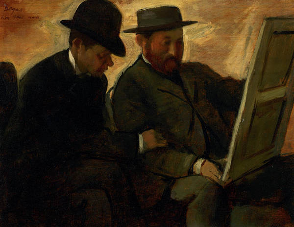 Wall Art - Painting - Paul Lafond And Alphonse Cherfils Examining A Painting, 1880 by Edgar Degas