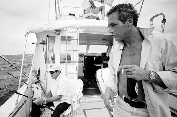 Usa State Photograph - Paul Newman On A Fishing Boat by Mark Kauffman