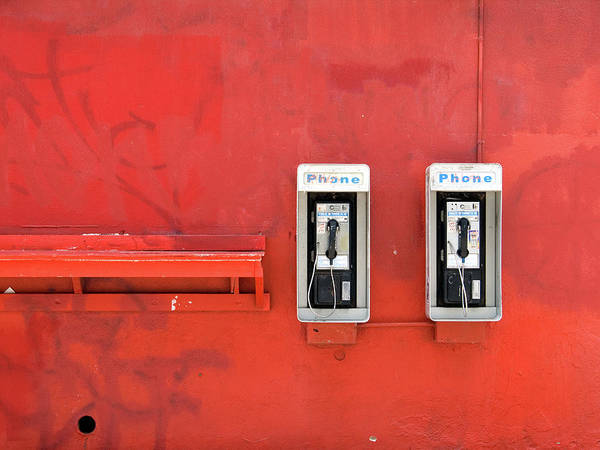 Pay Photograph - Payphones On Red Wall by Eyetwist / Kevin Balluff