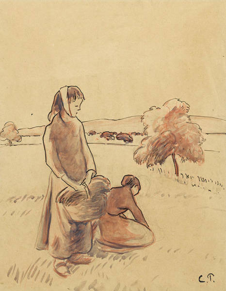 Drawing - Paysannes A L'herbe by Camille Pissarro