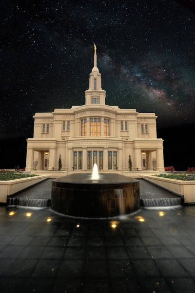 Photograph - Payson Temple And The Milkyway by David Andersen