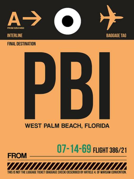 South Florida Wall Art - Digital Art - Pbi West Palm Beach Luggage Tag I by Naxart Studio