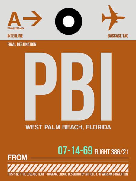 South Florida Wall Art - Digital Art - Pbi West Palm Beach Luggage Tag II by Naxart Studio
