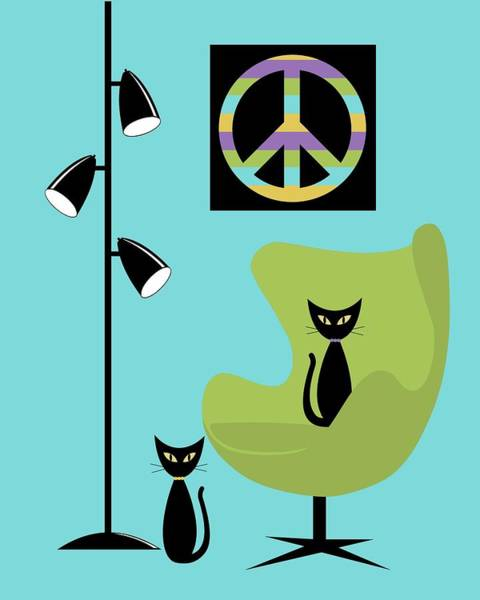 Digital Art - Peace Symbol Green Chair by Donna Mibus