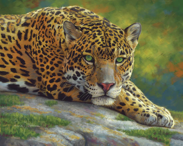 Wall Art - Painting - Peaceful Jaguar by Lucie Bilodeau
