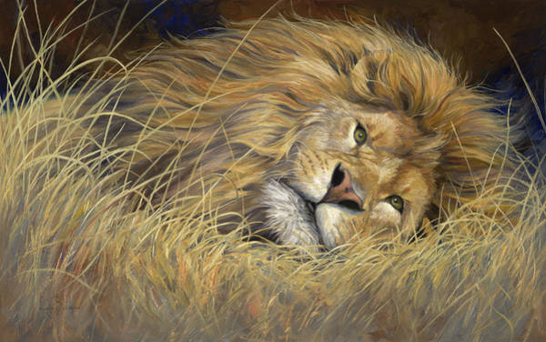 Lions Painting - Peaceful King by Lucie Bilodeau