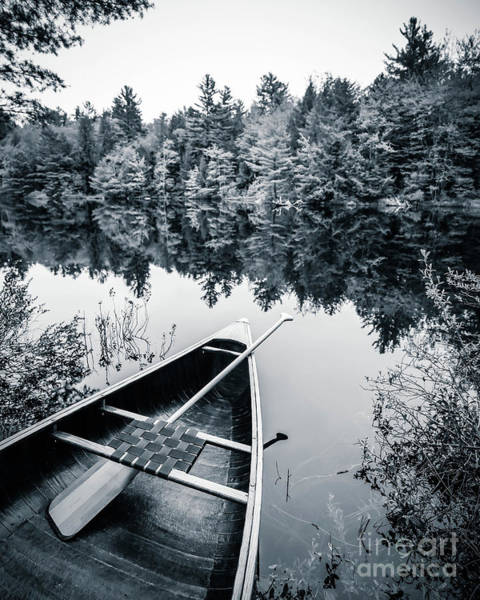 Wall Art - Photograph - Peaceful Lakeside Canoe by Edward Fielding