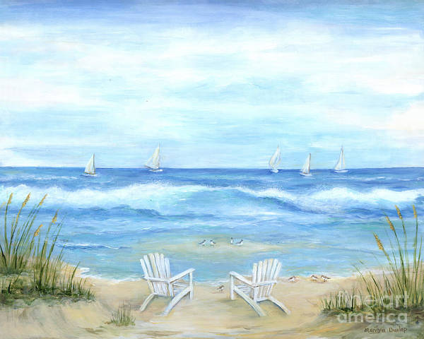 Sea Oats Painting - Peaceful Seascape by Marilyn Dunlap
