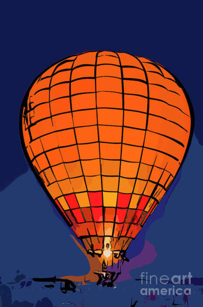 Digital Art - Peach Hot Air Balloon Night Glow In Abstract by Kirt Tisdale