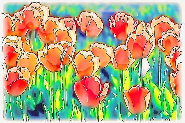 Mixed Media - Peach Tulips Abstract by Susan Rydberg