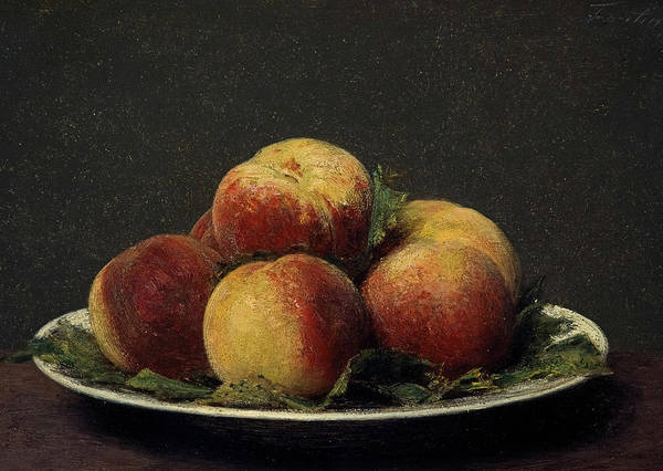 In Service Painting - Peaches On A Dish, 1873 by Henri Fantin-Latour