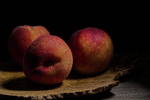 Wall Art - Photograph - Peaches On Wood Plate by Richard Rizzo