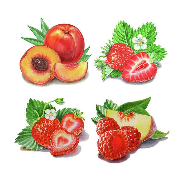 Painting - Peaches Strawberries Raspberries Watercolor  by Irina Sztukowski