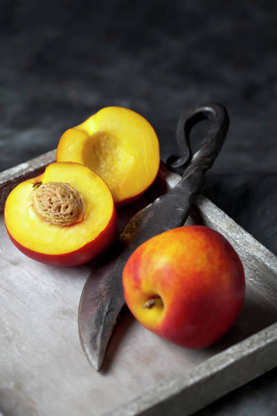 Tray Photograph - Peaches With Knife On Tray, Close Up by Westend61