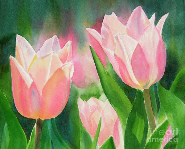 Peachy Pink Tulips Art Print