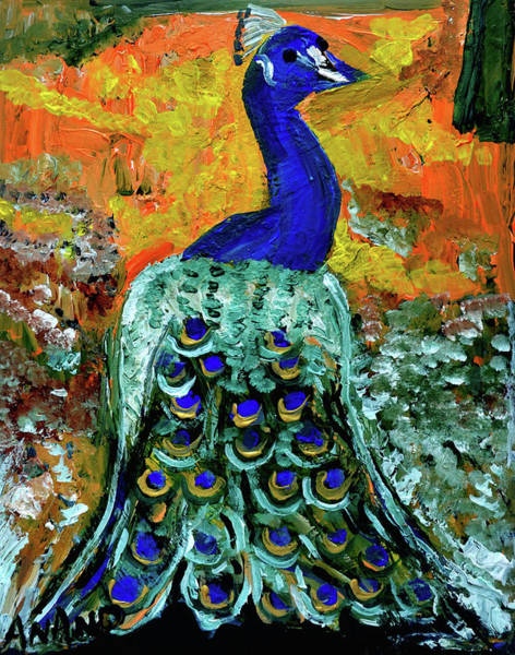 Wall Art - Painting - Peacock-1 by Anand Swaroop Manchiraju