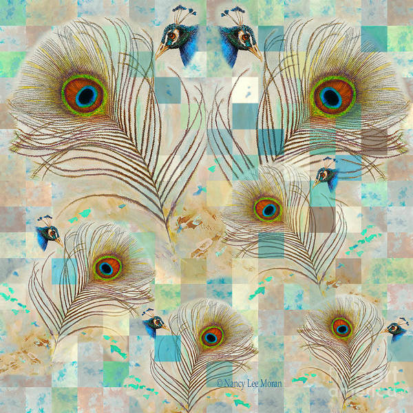 Wall Art - Mixed Media - Peacock Fascination Feathers And Faces by Nancy Lee Moran