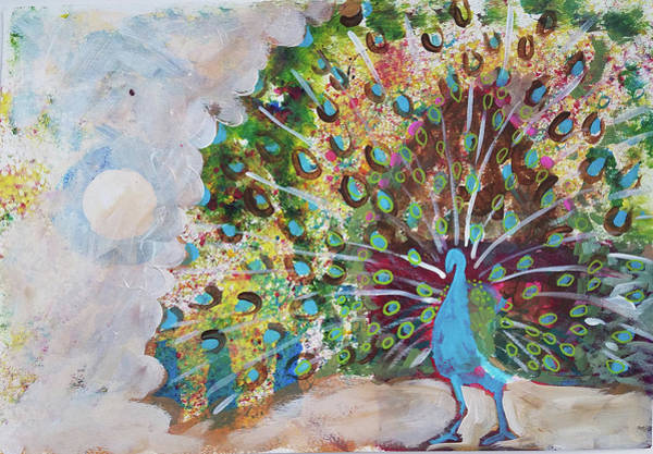 Painting - Peacock In Morning Mist by Tilly Strauss