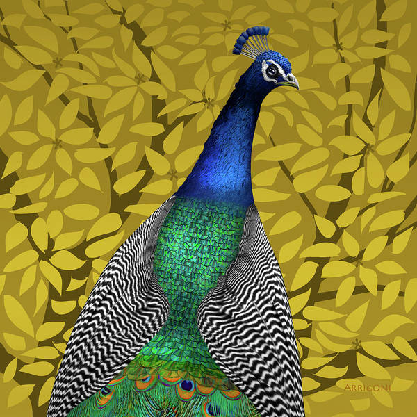 Painting - Peacock In Tree, Golden Ochre, Square by David Arrigoni